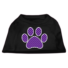Mirage Pet Products Purple Swiss Dot Paw Screen Print Shirt Black Sm (10)