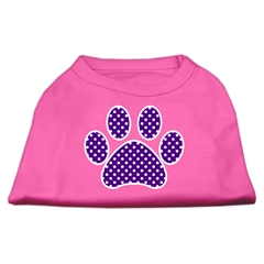 Mirage Pet Products Purple Swiss Dot Paw Screen Print Shirt Bright Pink Med (12)