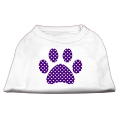 Mirage Pet Products Purple Swiss Dot Paw Screen Print Shirt White S (10)