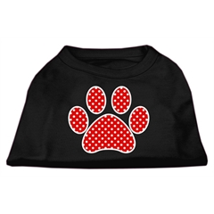 Mirage Pet Products Red Swiss Dot Paw Screen Print Shirt Black Lg (14)
