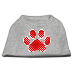 Mirage Pet Products Red Swiss Dot Paw Screen Print Shirt Grey XXXL (20)