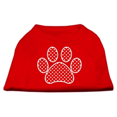 Mirage Pet Products Red Swiss Dot Paw Screen Print Shirt Red XXL (18)