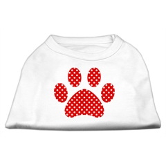 Mirage Pet Products Red Swiss Dot Paw Screen Print Shirt White S (10)