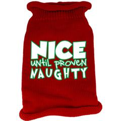 Mirage Pet Products Nice until proven Naughty Screen Print Knit Pet Sweater Red XS (8)