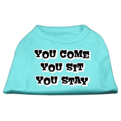 Mirage Pet Products You Come, You Sit, You Stay Screen Print Shirts Aqua XS (8)