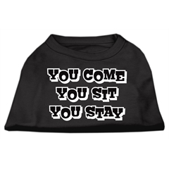 Mirage Pet Products You Come, You Sit, You Stay Screen Print Shirts Black XXXL(20)