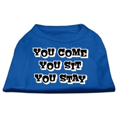 Mirage Pet Products You Come, You Sit, You Stay Screen Print Shirts Blue Lg (14)