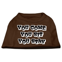 Mirage Pet Products You Come, You Sit, You Stay Screen Print Shirts Brown Lg (14)