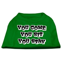 Mirage Pet Products You Come, You Sit, You Stay Screen Print Shirts Emerald Green XL (16)