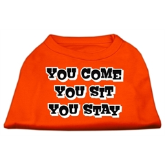 Mirage Pet Products You Come, You Sit, You Stay Screen Print Shirts Orange XXXL (20)