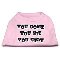 Mirage Pet Products You Come, You Sit, You Stay Screen Print Shirts Light Pink L (14)