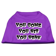 Mirage Pet Products You Come, You Sit, You Stay Screen Print Shirts Purple L (14)