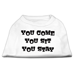 Mirage Pet Products You Come, You Sit, You Stay Screen Print Shirts White L (14)