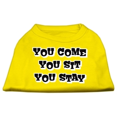 Mirage Pet Products You Come, You Sit, You Stay Screen Print Shirts Yellow XXL (18)