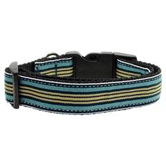 Mirage Pet Products Preppy Stripes Nylon Ribbon Collars Light Blue/Khaki Sm