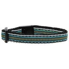 Mirage Pet Products Preppy Stripes Nylon Ribbon Collars Light Blue/Khaki Cat Safety