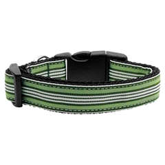 Mirage Pet Products Preppy Stripes Nylon Ribbon Collars Green/White XS
