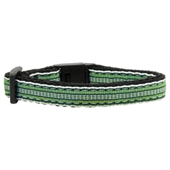 Mirage Pet Products Preppy Stripes Nylon Ribbon Collars Green/White Cat Safety
