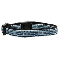 Mirage Pet Products Preppy Stripes Nylon Ribbon Collars Light Blue/White Cat Safety