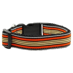 Mirage Pet Products Preppy Stripes Nylon Ribbon Collars Orange/Khaki Sm