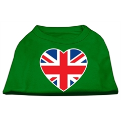 Mirage Pet Products British Flag Heart Screen Print Shirt Green XL (16)