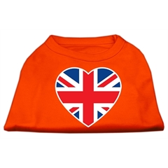 Mirage Pet Products British Flag Heart Screen Print Shirt Orange Med (12)