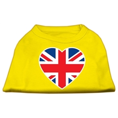 Mirage Pet Products British Flag Heart Screen Print Shirt Yellow XL (16)