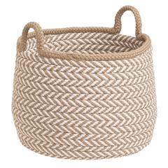 """Prevé Basket - Taupe & White 15""""x15""""x15"""""""