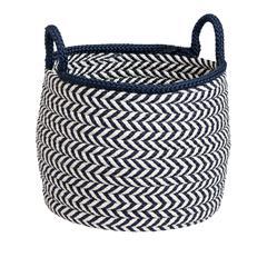 "Prevé Basket - White & Navy 15""x15""x15"""