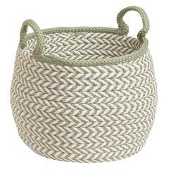 """Prevé Basket - White & Green 15""""x15""""x15"""""""