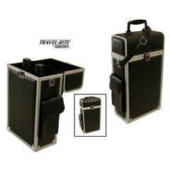 Travel-Rite Double Bottle Travel Wine Carrier in Black with Aluminium Trim