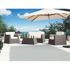 Transitional Outdoor Aruba 4-Piece Outdoor wicker set with White Cushions