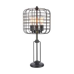 """26.5"""" In Powder Coated Industrial Cage 3 Light Edison Table Lamp"""