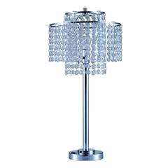 """26"""" In 2 Tier Holly Glam Silver Table Lamp W/ Charging Station And Usb Port"""