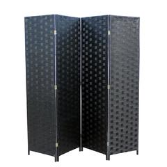 """Black Paper Straw Weave 4 Panel Screen On 2""""H Wooden Legs, Handcrafted"""
