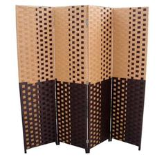 """Brown/Espresso Brown Paper Straw Weave 4 Panel Screen On 2""""H Legs, Handcrafted"""