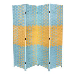 """Beach Blue/Natural Paper Straw Weave 4 Panel Screen On 2""""H Legs, Handcrafted"""
