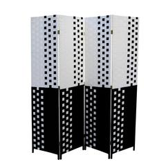 """Black/White Paper Straw Weave 4 Panel Screen On 2""""H Legs, Handcrafted"""