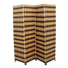 """Brown / Natural Brown Paper Straw Weave 4 Panel Screen On 2""""H Legs, Handcrafted"""