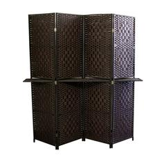 """Espresso Brown Paper Straw Weave W/ One 63""""L Shelving 4 Panel Screen , Handcrafted"""