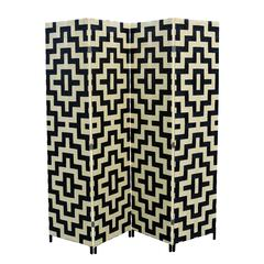 """Black/Natural Paper Straw Weave 4 Panel Screen On 2""""H Wooden Legs, Handcrafted."""