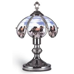 14.25 In Running Horses Black Chrome Touch-On Lamp