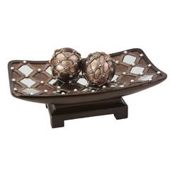 "6""H Arabesque Mirror Bowl W/ Spheres"