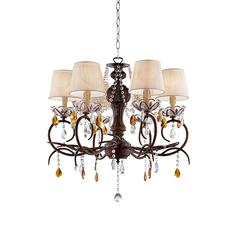 "27"" In Magnolia Crystal Bronze Ceiling Lamp"