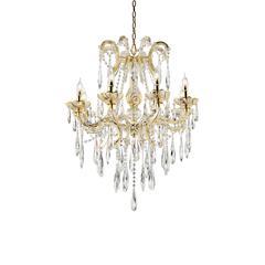 """35"""" In Luminere Crystal Matte Gold 8 Led Lights Chandelier"""
