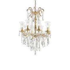 "41.75"" In Adeline Crystal Matte Gold 8 Led Lights W/ Hurricane Glass Chandelier"