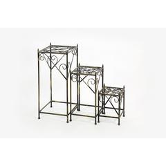 """13"""",20.5"""",28"""" Square Cast-Iron Plant Stand Set Of 3"""