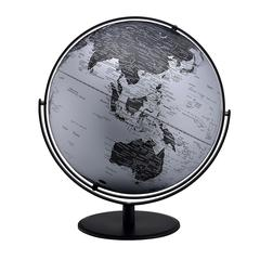 20.5 In Black/Silver Globe W/ 3D Mountain Features On Black Metal Frame