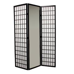 3-Panel Black Finish Mirror Room Divider