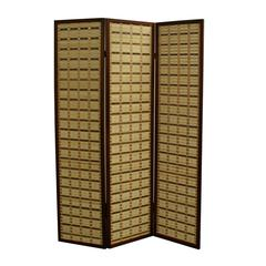 """70.25""""H Two Tone Bamboo 3 Panel Room Divider - Walnut"""